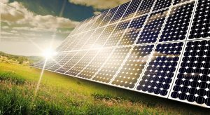 Solar panels absorbing the suns energy on hot summer day, these are solar energy advantages